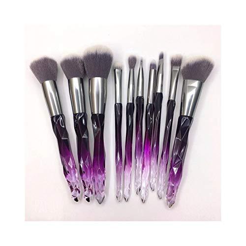 Pinceaux de Maquillage Premium Maquillage Brush Set 10 Poignée en Plastique Maquillage Brush Set Brush Outils De Beauté Portable Beauté Brush Maquillage Brush 3 Couleur en Option (Taille : Purple)