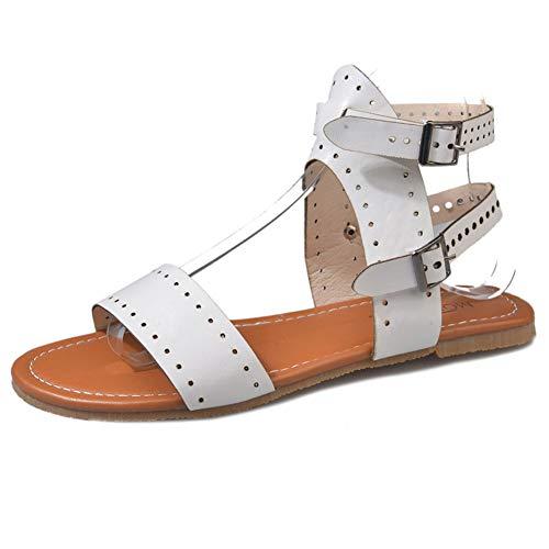 Mujer Tobillo Correa Sandalias Verano Gladiador Calzado Alto Top Moda Damas Roman Zapatos Abiertos Toe Flats