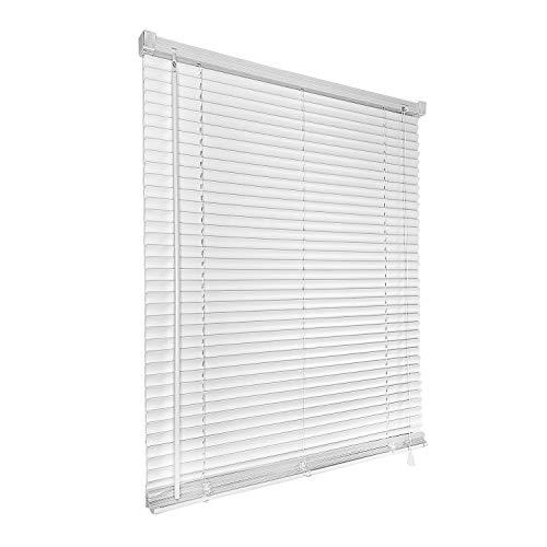 HENGMEI Jalousie breit aus PVC Kunststoff 90x210cm Jalousie Jalousett Fenster Rollo Wand- und Deckenmontage, Weiß