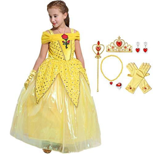 O.AMBW Mädchen Schönheit Prinzessin Kostüm Dress Up Halloween Schönheit und das Biest Cosplay Party Gelb Mesh Rose Print Kinderkostüm und Accessoires Handschuhe Krone Zauberstab, 3-10 Jahre alt