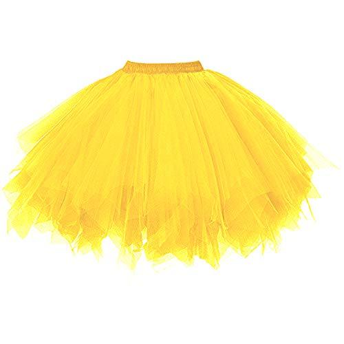 DresseverBrand Damen Petticoat 50er Rockabilly Jahre Retro Tutu Ballet Tüllrock Cosplay Crinoline Gold Small/Medium