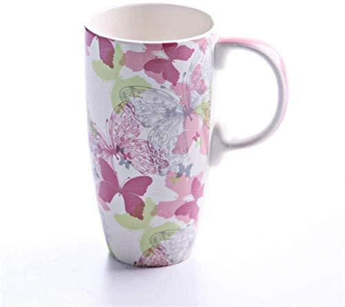 Taza de cerámica para café / té,1 taza pintada de gran capacidad con múltiples modos para taza de automóvil opcional-Pink_Butterfly_500Ml-Pink_Butterfly_500ml