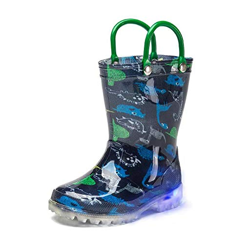 DKSUKO Toddler Light Up Rain Boots Waterprof Rubber Boots with Easy-on Handles (9 Toddler, Blue Dinosaur)