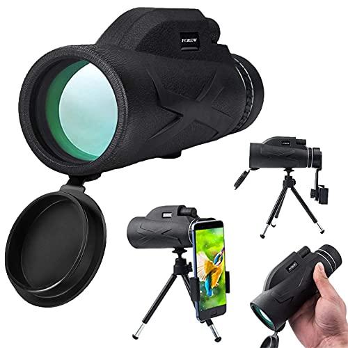 FCREW Starscope Monokular, 80 x 100 High Power Fernrohr, HD Monocular Starscope Teleskop mit Smartphone Halter und Stativ wasserdicht für Vogelbeobachtung/Sightseeing/Jagd/Wandern/Camping/Reisen