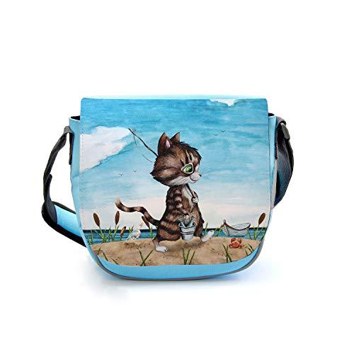 ilka parey wandtattoo-welt Kindergartentasche Katze Kätzchen Angelkatze Angel Angeln Tasche blau Kindertasche Wunschname kgt41 - ausgewählte Farbe: *blau* ausgewählte Größe: *5. Angelkater in blau*