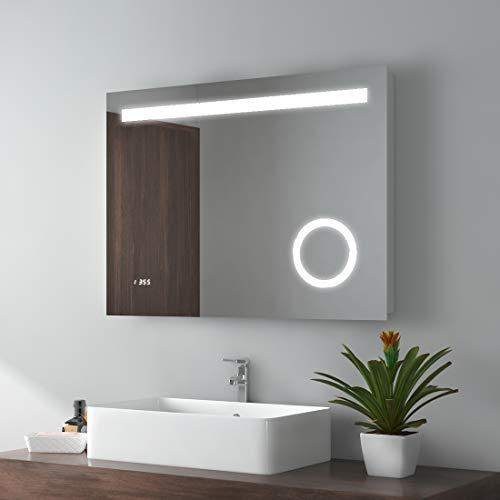 EMKE LED Badspiegel 80x60cm Badezimmerspiegel Wandspiegel mit 3-Fach Vergrößerung, Sensor-Schalter, Digitaluhr