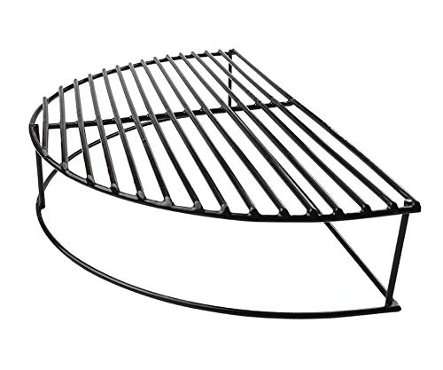 """soldbbq Half-Moon Porcelain Coated Stack Expander Rack,Smoking/Warming/Grilling Grate for Large Big Green Egg,18 inch Weber Kettle Grill,Pit Boss, Vision Grill Etc,16"""" X10 X 4 1/2"""" H"""