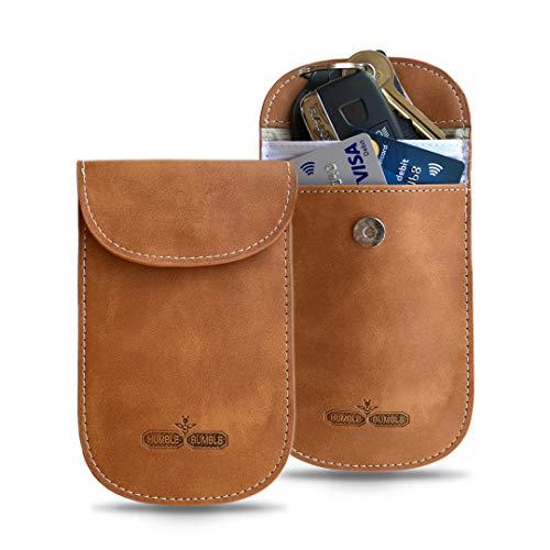 Bloqueo de señal de llave: funda de piel pura para coches. Bolsa Faraday para bloquear la entrada sin llave. Bloqueo RFID NFC. Protector de tarjeta de crédito para hombres y mujeres