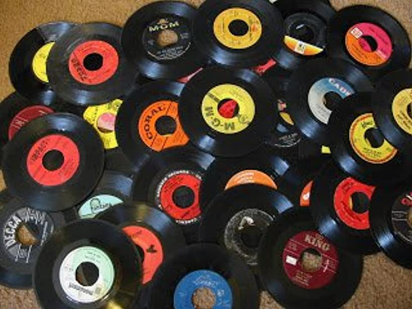 "Genuine Record Decorations Set Of 25 45 RPM, 7"" Vinyl Records Party Decorations, Arts And Crafts Supplies Vintag Retro Home Decor"