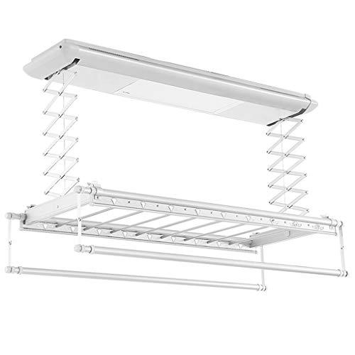 ROMX Estante de Secado de Ropa | Rack de Secado de lavandería de Metal Plegable | Tendedero Eléctrico | Techo de Secado Rack elevación automática con iluminación LED, Control Remoto