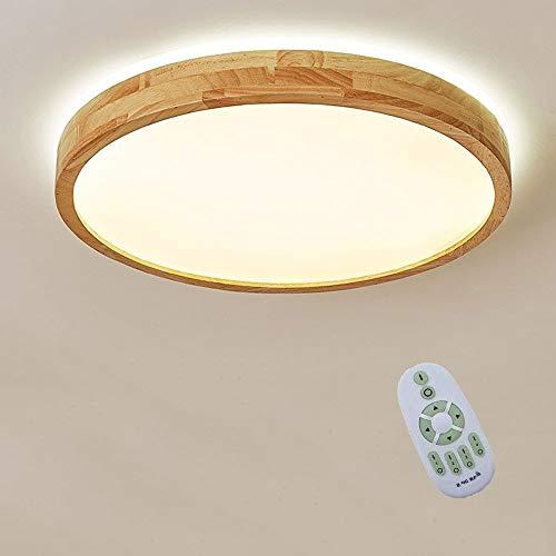 48W LED Deckenleuchte Aus Massivem Holz, Ultradünne 6cm Runde Deckenlampe, Deckenleuchte Aus Nordischer Eiche, Moderne Wohnzimmer Schlafzimmer LED Deckenleuchte, Mit dimmbarer Fernbedienung Φ50*6CM
