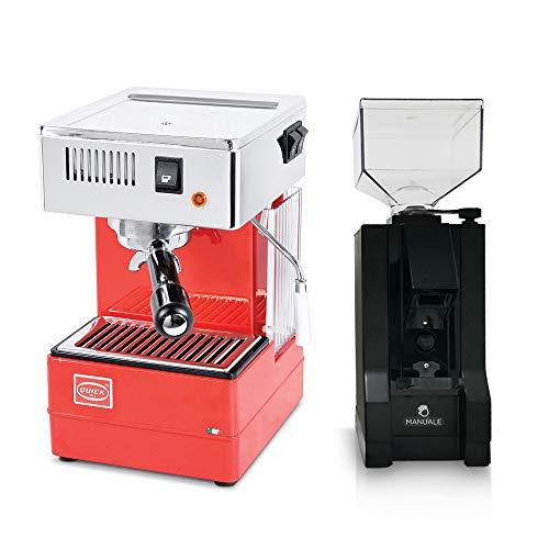 LA GONDOLA Combo Set Espressomaschine Quick Mill 0820 in rot und Kaffeemühle Eureka Made In Italy