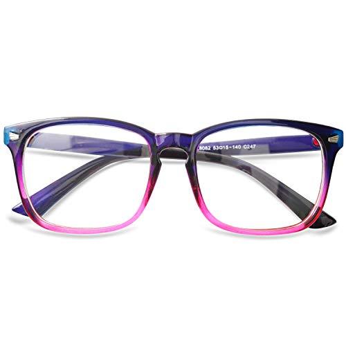 KOOSUFA Blaulichtfilter Brillen Anti Blaulicht Brillen Ohne Sehstärke Damen Herren Computer Gaming Brillen Anti Müdigkeit Leicht Retro Brillengestelle mit Etui (Schwarz-Rot)