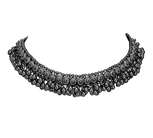 Collar de cuentas de metal negro indio oxidado, étnico Bollywood, hecho a mano, tribal, declaración afgana, Ghungroo, multicolor