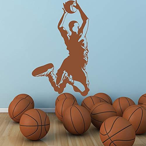 Pegatinas de pared, jugador de baloncesto, deportes estadounidenses, gimnasio, familia, vinilo, regalo, baño, niños, oficina, navidad, decoración de puertas, murales, baños, hogar, dormitorio, 51x86cm