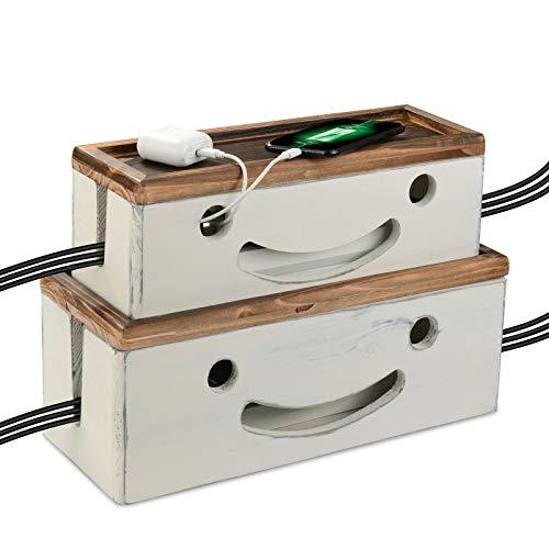 Caja de gestión de cables grande Organizador de cables Cubierta de alimentación de madera rústica Soporte de cable eléctrico Ocultador para protector de sobretensión, Tapa magnética, Juego de 2