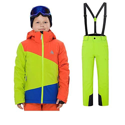 LSERVER Kinder warm und strapazierfähig Skianzug zweiteilig Skijacke + Skihose, Bildfarbe A(Junge), 134/140(Fabrikgröße: 140 cm)