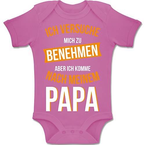 Shirtracer Sprüche Baby - Ich versuche Mich zu benehmen Papa orange - 3-6 Monate - Pink - BZ10 - Baby Body Kurzarm Jungen Mädchen