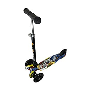 Kool KiDz 3 Wheel Kick Scooter with LED Light up Wheels Super-Tough Aluminum Adjustable Handle T-Bar