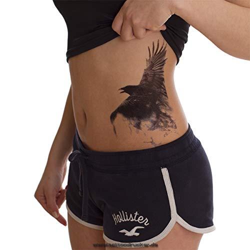 1 x Krähe Crow - schwarzes XL einmal Haut Tattoo - HB850 (1)