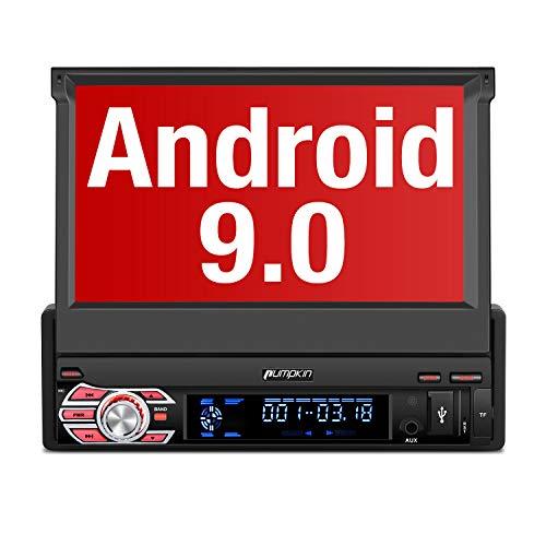 "PUMPKIN 【 Android 9.0 】 1 DIN Radio con GPS Navegador, Autoradio Pantalla Android soporte Bluetooth, Control Volante, WiFi, USB, SD, Subwoofer, Mirror-Link, con 7"" Pantalla Táctil"