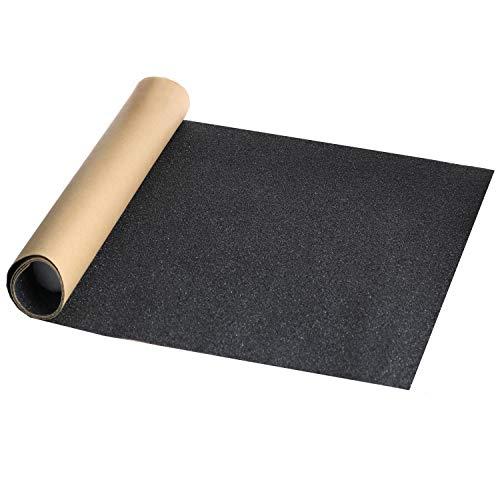 """11"""" x 50"""" Black Skateboard Grip Tape Sheet, ZUEXT Bubble Free Waterproof Scooter Grip Tape, Longboard Griptape, Sandpaper for Rollerboard, Stairs, Gun, Pedal, Pistol, Wheelchair, Steps (125x27cm)"""