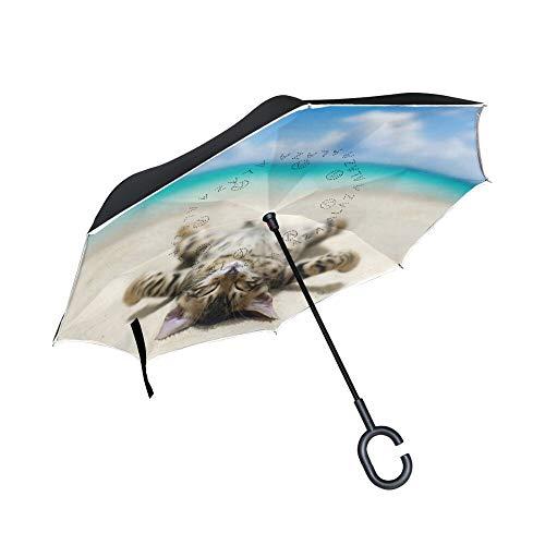 Een kat liggend op strand print omgekeerde paraplu, creatieve moderne ondersteboven omgekeerde paraplu, c-handvat dubbele laag binnenstebuiten