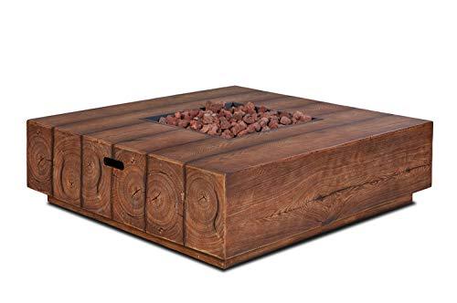 intergrill Gasfeuerstelle TM17962 Fire Pit Feuertisch für Garten mit Laversteinen Holzoptik Quadratisch