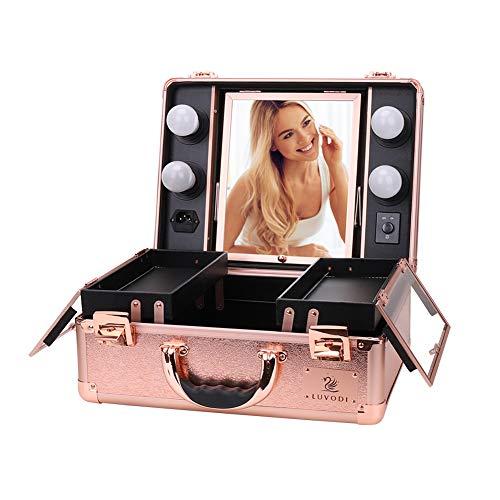 LUVODI Maleta Maquillaje Profesional Estuche de Maquillaje de Aluminio Maletín de Cosméticos con Espejo y 4 Bombillas de Luces LED Color Oro Rosa