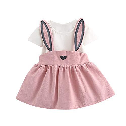 REALIKE Kinder Baby Mädchen Kurzarm Kurze Kleid Elegant Kaninchen Sling Mini Kleid Mode O-Ausschnitt Hoher Taille Party Kleider Strandkleidungkind Prinzessin