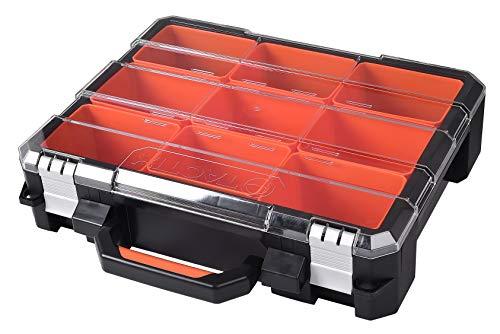 Tactix 320060 Sortimentskasten Koffer, Organizer mehrteilig, 9 herausnehmbare Boxen, extra stark, transparenter Deckel verhindert Verrutschen, schwarz - orange-durchsichtig