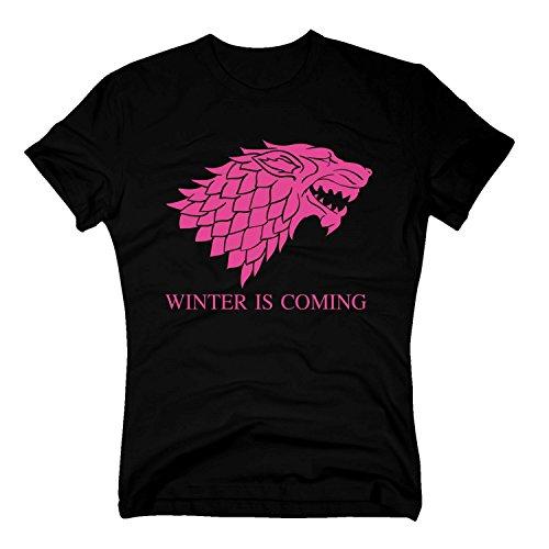 T-Shirt Game of Thrones Winter is Coming Dire Wolf Schattenwolf Stark, XXL, schwarz-Fuchsia