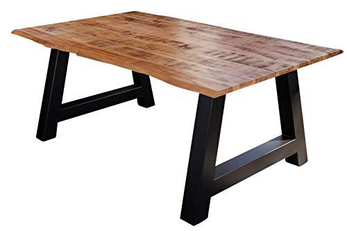 SAM Esstisch Dora 160 x 85 cm, Mangoholz massiv, lackiert & naturfarben, Baumkantentisch mit A-Metallgestell in Mattschwarz, echte Baumkante, 26 mm