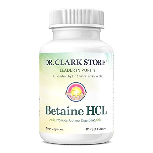 Dr. Clark Betaine HCL Supplement 425mg | Hydrochloric Acid Formula Promotes Protein & Fat Optimal Digestion | Supports Optimal Stomach Acidity | 100 Capsules