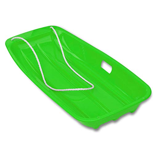 Strong Camel Plastic Snow Sled Kids 35' Plastic Toboggan with Pull Rope Winter Slider Bobsleds (Green)