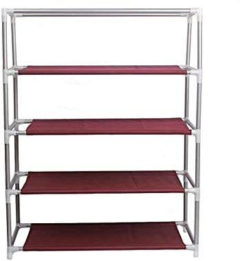 Aysis Multipurpose Portable Folding Shoes Rack 4 Tiers Multi-Purpose Shoe Storage Organizer Cabinet Tower with Iron and Nonwo