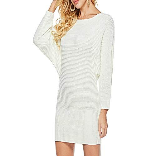 XIEPEI Herbst und Winter Größe Langarm Kleid einzigen Kragen Fledermaus Ärmel Frauen Stricken Langarm Kleid weiß XL