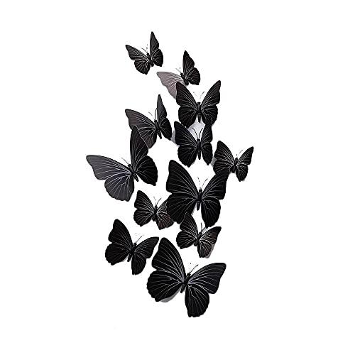 GIVBRO Calcomanías de pared 3D con diseño de mariposas para ventana, imán de nevera para casa, habitación, oficina, decoración de bar, fiesta, color negro, 12 unidades