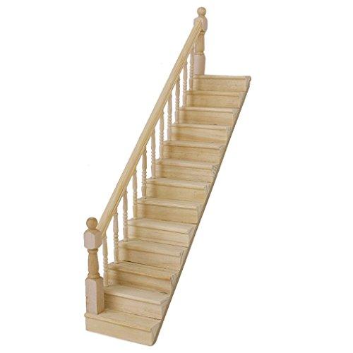 SODIAL(R) SODIAL(R) 1:12 La escalera madera de casa de juguet con la barandilla izquierda previamente montada de 45 grados declives
