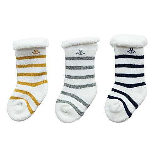 DEBAIJIA 3 Paar Baby Socken Kinder Neugeborenes Gestreifte Söckchen Warme Kuschelsocken Weich Süß Bequem Baumwolle für 0-3 Jahre alt Junge Mädchen für alle Jahreszeiten