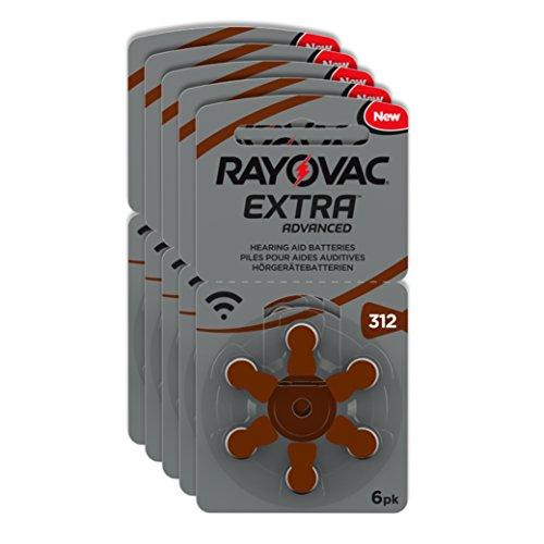 Rayovac Extra Advanced Zink Luft Hörgerätebatterie (in der Größe 312er Pack, mit 30 Batterien, geeignet für Hörgeräte Hörhilfen Hörverstärker) braun