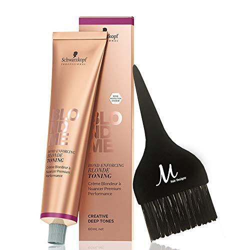 Schwarzkopf BlondMe T-Steel Blue Bond Enforcing Blonde Toning and M Hair Designs Tint Brush (Bundle - 2 items)