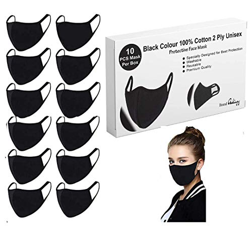 Breathable face mask Made in USA 100% Purified Cotton 3Ply Black Color Washable & Reusable Protection Mouth Covers Pack of 6 &10.