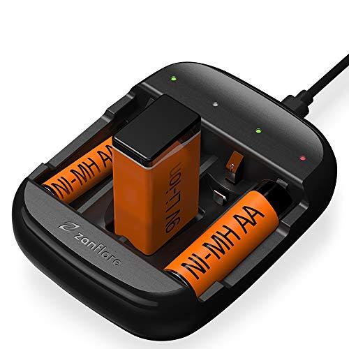 Zanflare Cargador de Pilas C4A, Cargador de Batería Universal Rápido USB, Cargador Inteligente para Baterías Recargables 9 V, AA, AAA, Ni-MH Ni-CD, Etc