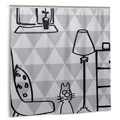 zheng Duschvorhang für Badezimmer Dekor Vorhänge Set,Strichmännchen Cute Kitten Stuhl Stehlampe Stoff Bad Vorhänge mit Haken 60x72in
