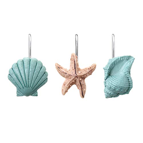 AGPTEK Shower Curtain Hooks, 12PCS Anti Rust Decorative Resin Hooks for Bathroom, Baby Room, Bedroom, Living Room Decor (Blue Seashell)