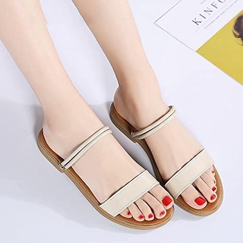 Machengxixtuox Womens Flip Flops, Women Sandals Black Flats Shoes Ladies Outdoor Fashion Shoes Leather Casual Sandals Low Heel (Color : White, Shoe Size : 38)