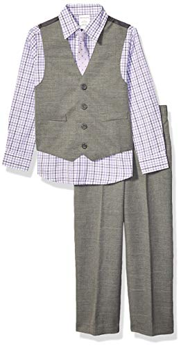 Van Heusen Boys' Toddler 4-Piece Formal Suit Vest Set, Grey Shade, 5 T