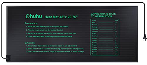 """Ohuhu Seedling Heat Mat for Plants, 10"""" x 20.75"""" MET Certified IP67 Water Resistant Heating Pad for Indoor Home Gardening Hydroponic Germination, 21W Durable Seed Starter Warming Mats"""