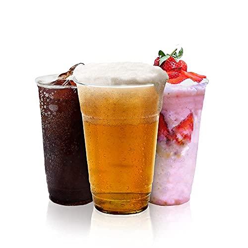 Heavy Duty Clear Plastic Cups, grandi tumblers in plastica - forti bicchieri di pinta usa e getta - La Coppa di Birra Ideale per Festival, Barbecue e Giochi di Calcio, 660ml (Full Pint) - 50 Pezzi